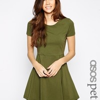 ASOS PETITE Skater Dress with Seam Detail and Short Sleeves