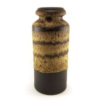 Scheurich West Germany Pottery Vase Brown and cream drip glazed ceramic. fat Lava 217-30. 60s pottery. Houseware