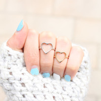 Open Heart Ring Gold or Silver - Love Ring - Heart Ring - Open Heart Ring