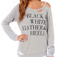 Letters Print Cutout Long Sleeve T-shirt