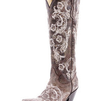 Corral Ladies Brown And White Lace Stitch And Studs Western Boot