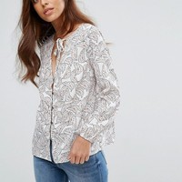 Goldie Printed Blouse With Neck Tie at asos.com