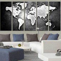 Black Backgrounded White WORLD MAP Canvas Print World Map 5 Piece Canvas Art Print Ready to