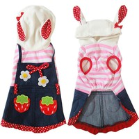 Trendy Cute strawberry Dog puppy rabbit denim overall jacket coat costume pet cat dog Princess dress skirt small dog chihuahua clothes AT_94_13