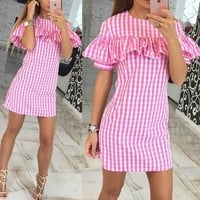 Pink Plaid Print Ruffle Round Neck Short Sleeve Mini Dress