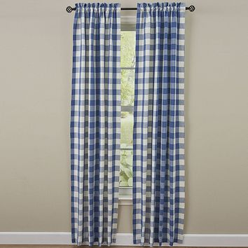 Wicklow Blue Check Panel Curtains