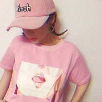 Tee Shirt Femme 2016 Summer New TShirt Korea Ulzzang Harajuku Print Women O neck Pink T-Shirts Casual Loose Short Sleeve Tops