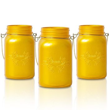 BLOWOUT (6-Pack) Fantado Regular Mouth Frosted Yellow Gold Color Mason Jar w/ Handle, 16oz / 1 Pint