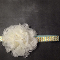 Mint and Gold Lace and Chiffon Flower Headband-Baby Toddler Girl-NewBorn Photography Prop