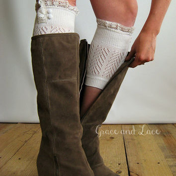 Dainty Lace Boot Cuffs - 3 colors - strechy knit boot topper w/ lace trim & buttons - faux legwarmers - lace cuff - boot socks - leg warmers