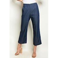 Denim Cropped Chambray Pants