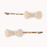Faux Pearl Bow Hair Pins | FOREVER 21 - 1057539035