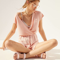 Kimchi Blue Ribbed Surplice Romper   Urban Outfitters