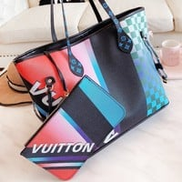 LV Louis Vuitton New fashion tartan leather shoulder bag women two piece suit bag