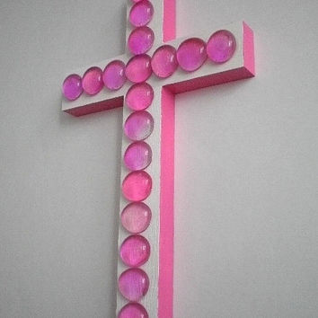 "PINK & WHITE CROSS- Glass Gem Wall Cross in White and Hot Pink w/ Pink Glass Gems - 9.5"" x 5.5"""