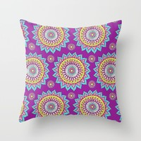 Colorful Mandalas Throw Pillow by Sarah Oelerich