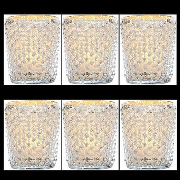 6 Pack | Vintage Mercury Glass Candle Holders (3-Inch, Zariah Design, Silver) - For Use with Tea Lights - For Home Decor, Parties and Wedding Decorations