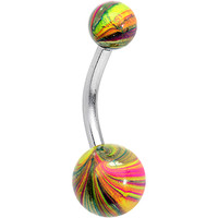 Multicolor Swirl Ball Ends Stainless Steel Super Simple Belly Ring | Body Candy Body Jewelry
