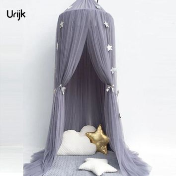 Urijk 1PC Circular Grey Canopy Bed Valance Kids Room Decoration Bed Tent Moustiquaire Princess Kids Girls Round Mosquito Net