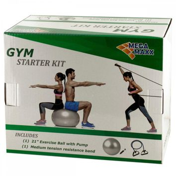 Gym Starter Kit With Exercise Ball, Pump & Resistance Band