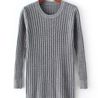 Casual Scoop Neck Long Sleeve Cable-Knit Sweater