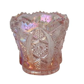 Vintage Pink Carnival Glass Toothpick Holder by Imperial Glass Iridescent Pink Decor