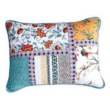 Tache Cotton Patchwork Blue Yellow Old World Hummingbirds Garden Pillow Sham (JHW-936)
