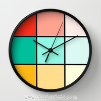 Geometric Modern Wall Clock in Natural Wood Black or White Frames Cube Square Black Coral Pink Mint Mustard Yellow Teal Ochre Turquoise Red