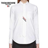 Thom Browne Popular Women Men Casual Tie Stripe Long Sleeve Polo Shirt Top