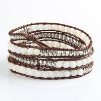 White Agate Mix Wrap Bracelet