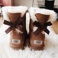 """UGG"" Winter Stylish Women Wool A Bowknot Snow Boots Brown I/A"