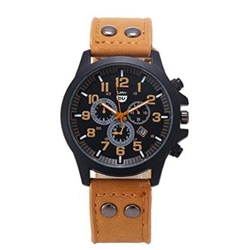 Men's Novelty Sports 3 Dials Watches with Brown Leather Band Strap