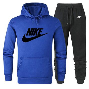 NIKE 2019 new classic big logo solid color loose men and women sports suit two-piece blue