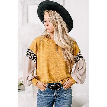 Born To Stand Out Cheetah Detail Balloon Sleeve Top