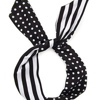 FOREVER 21 Dots & Stripes Headwrap Cream/Black One