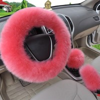 HOT 5 colors 3pcs set Pink Wool plush car steering wheel cover sets spring fur leather handle sleeves