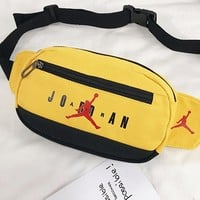 Jordan hot selling casual lady Fanny pack fashion splice color diagonal across the chest bag Yellow