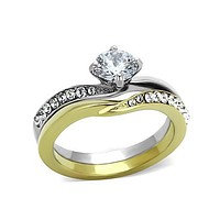 Heart of Gold -  FINAL SALE .84 CT. Equivalent Cubic Zirconia Center Stone Two Tone Engagement/Wedding Set