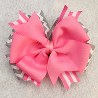 Pink and grey chevron hair bow