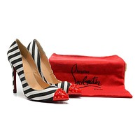 Christian Louboutin Black/White Patent Leather High Heels 120mm