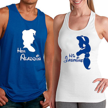 Personalized Couples Aladdin Tanks / Customized Couples Disney Shirts / Aladdin and Jasmine