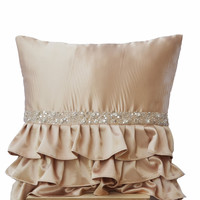 Beige Ruffled Sequin Decorative Throw Pillow In Satin With Crystals Sequin