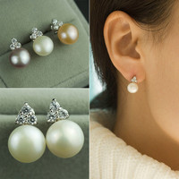 Pearls 925 Silver Stylish Simple Design Earring Accessory [4914866628]
