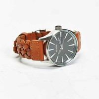 Nixon Sentry Woven Leather Watch- Brown One