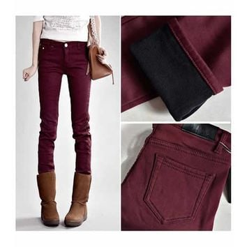 Wine Red Cotton Thicken Slim Fitting Pant S/M/L/XL/XXL/3XL H4853wr from clothingloves
