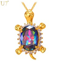 U7 Cute Turtle Crystal Necklaces & Pendants Gold Color AAA Cubic Zirconia Lovely Animal Tortoise For Women Jewelry Gift P792