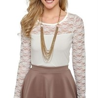 Long Sleeve Top with Lace Yoke and Sleeves