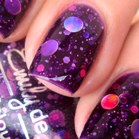 "Nail polish - ""Cosmic Forces"" holographic dot glitter in a dark purple base - new 12 ml bottle"