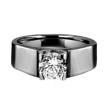 2 CT.(8mm) Intensely Radiant Round Diamond Veneer Cubic Zirconia Modern Tension style Stainless Steel Man Ring. 635R1061