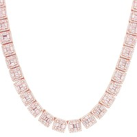 Rose Baguette Solitaire IcedOut Square Links Tennis Necklace